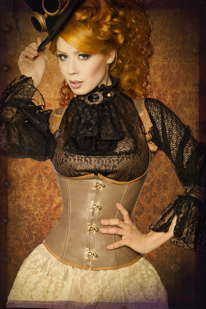underbust steampunk marron